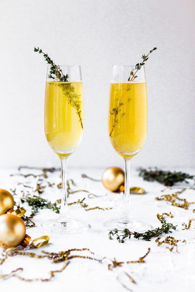 Champagne Glasses with Garnish