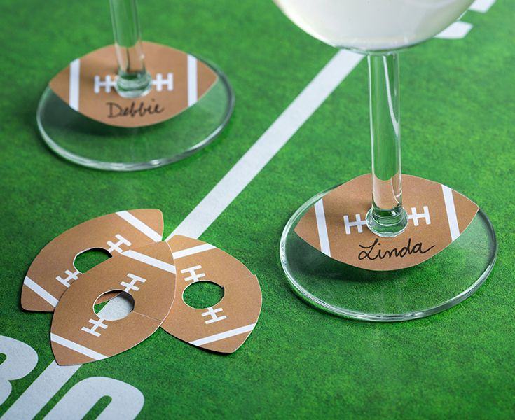 Football champagne glass tags