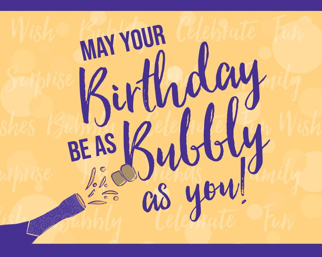 Bubbly Side of Life Birthday Label for a bubbly bottle