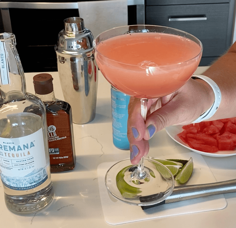 The perfect watermelon cocktail with bubbly, of course