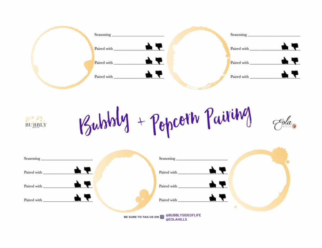 Bubbly + Popcorn pairing mat from Bubbly Side of Life and Eola Hills