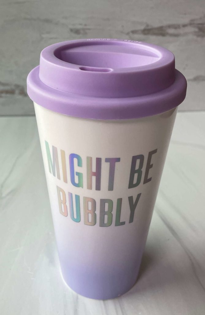 Might Be Bubbly coffee tumbler by Slant Collections, a great stocking stuffer idea.
