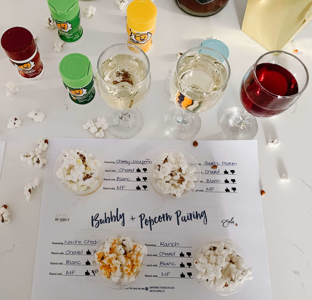 Popcorn Party with a Bubbly + Popcorn Pairing mat