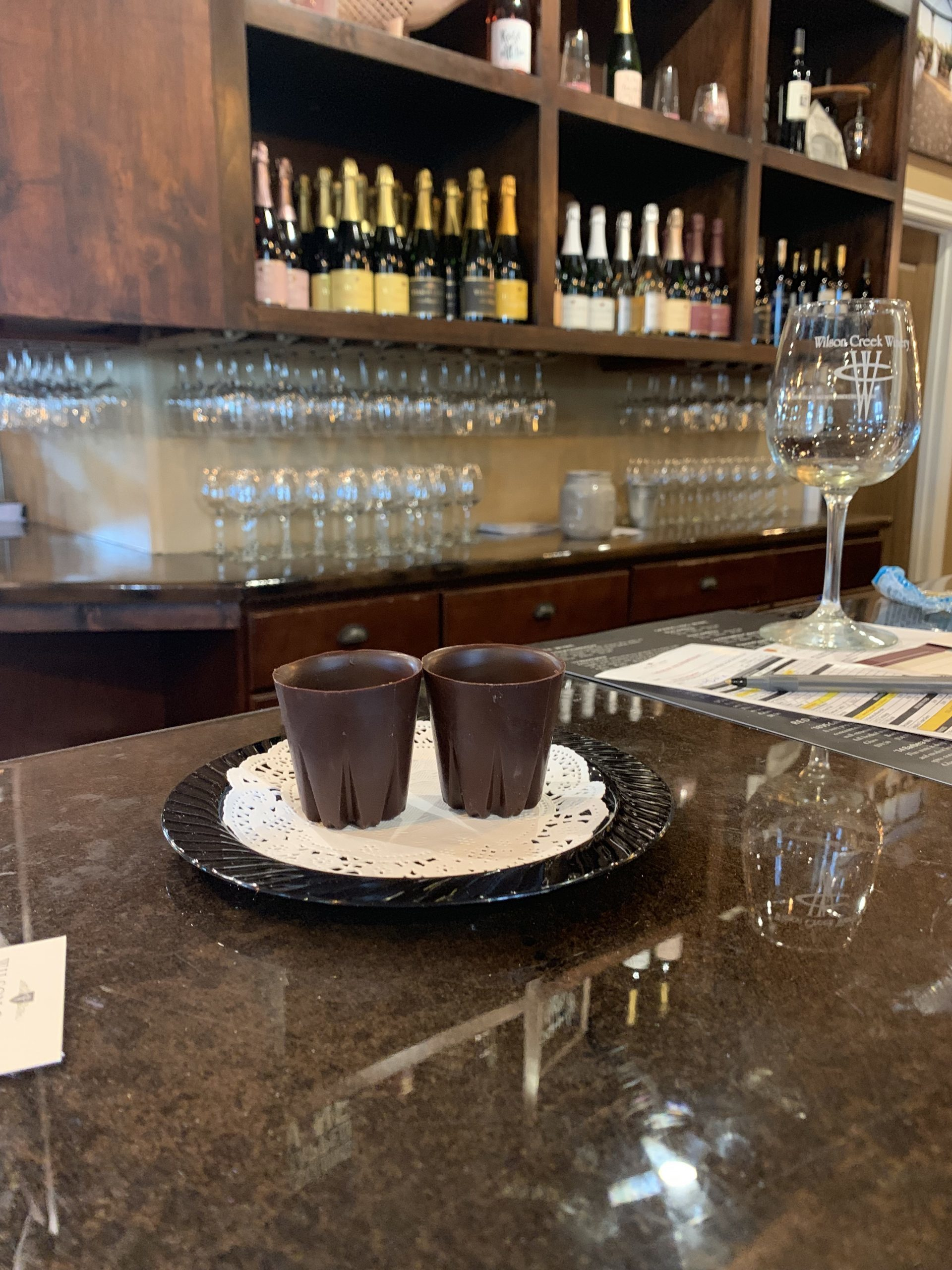 Chocolate glasses at the Wilson Creek Winery