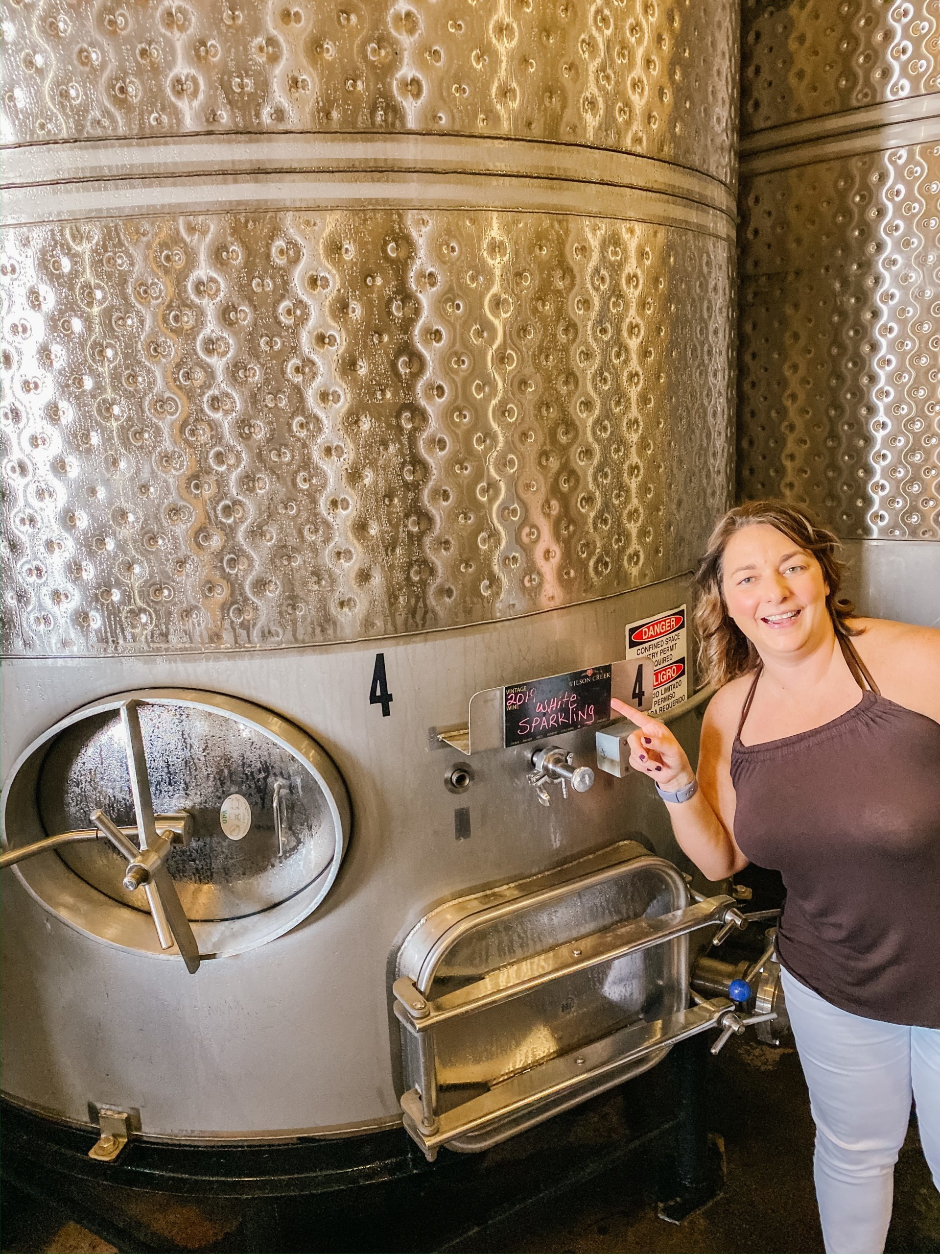 The Bubbly Side of Life with the wine tanks at the Wilson Creek Winery