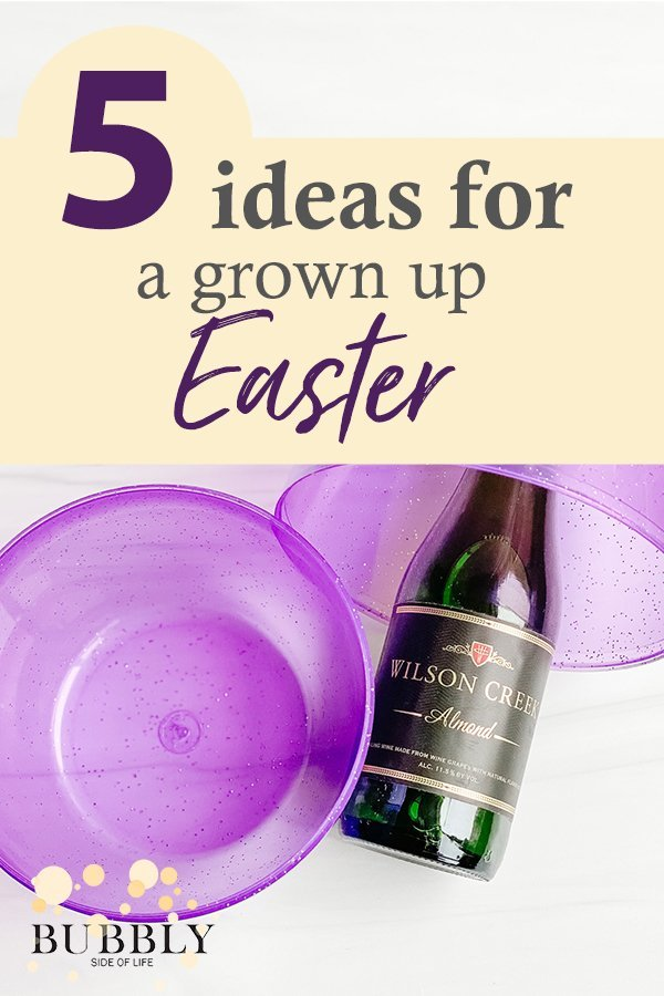 5 Ideas for a grown up Easter Champagne split in a large purple easter egg