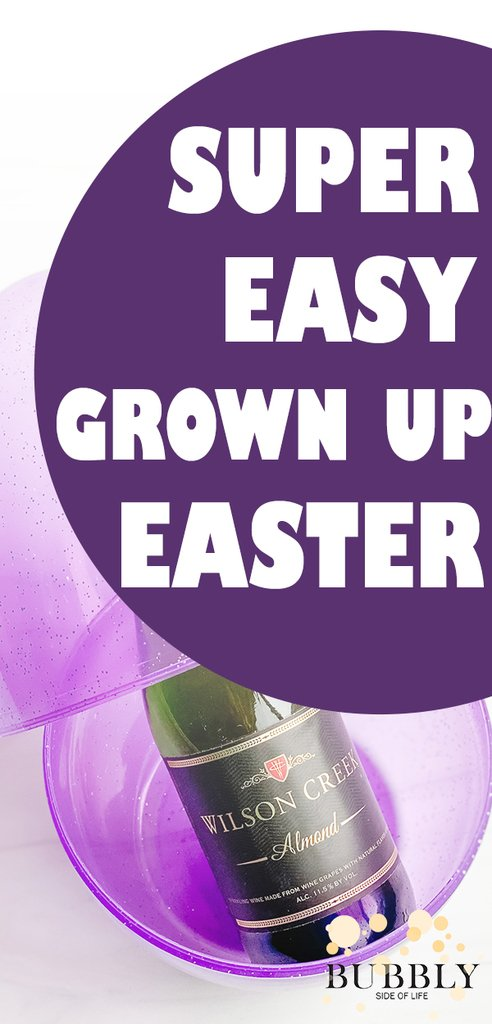 Super easy grown up easter champagne split in large easter egg