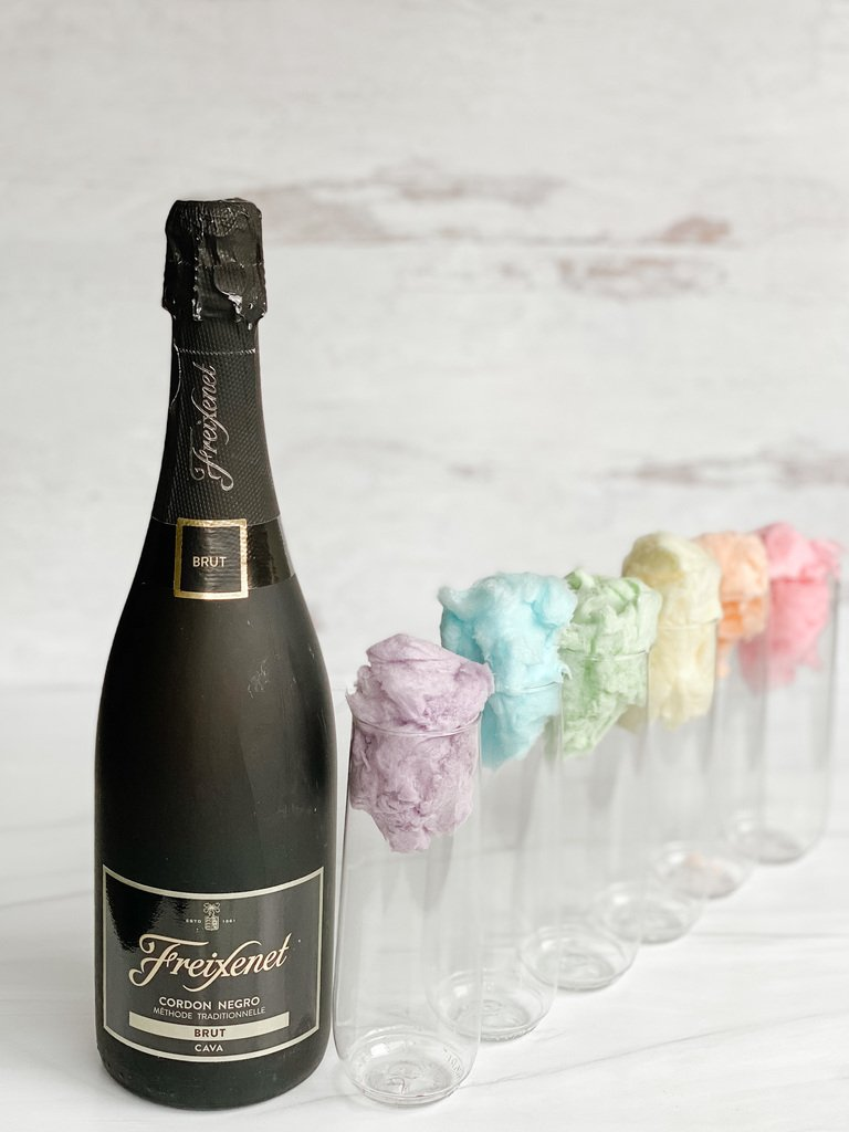 Cotton Candy Champagne Cocktails with Cava