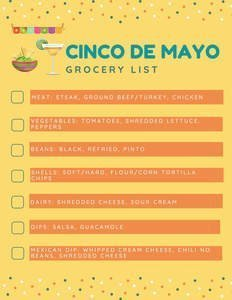 Taco bar party grocery list