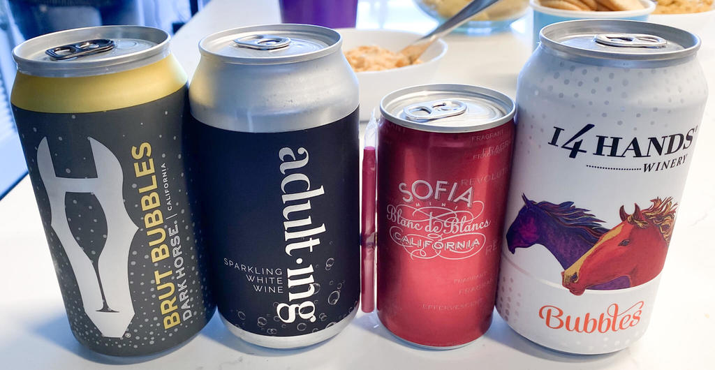 Canned sparkling wines-Dark Horse Brut Bubbles, Adulting Sparkling White Wine, Sofia Blanc de Blancs, 14 Hands Bubbles
