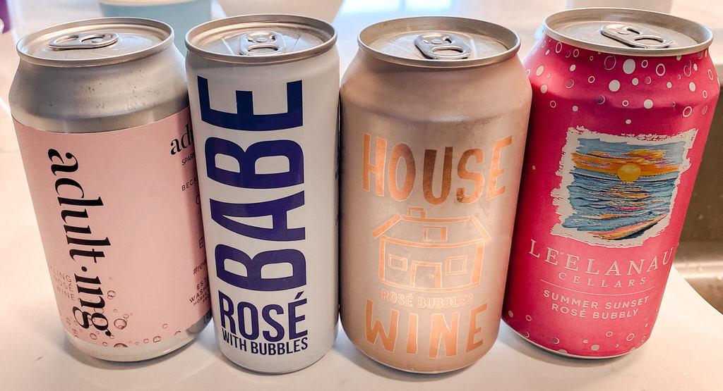 Sparkling rosé cans-Adulting Sparkling Rosé, Babe Rosé with Bubbles, House Rosé Bubbles Wine, Leelanau Summer Sunset Rosé Bubbly
