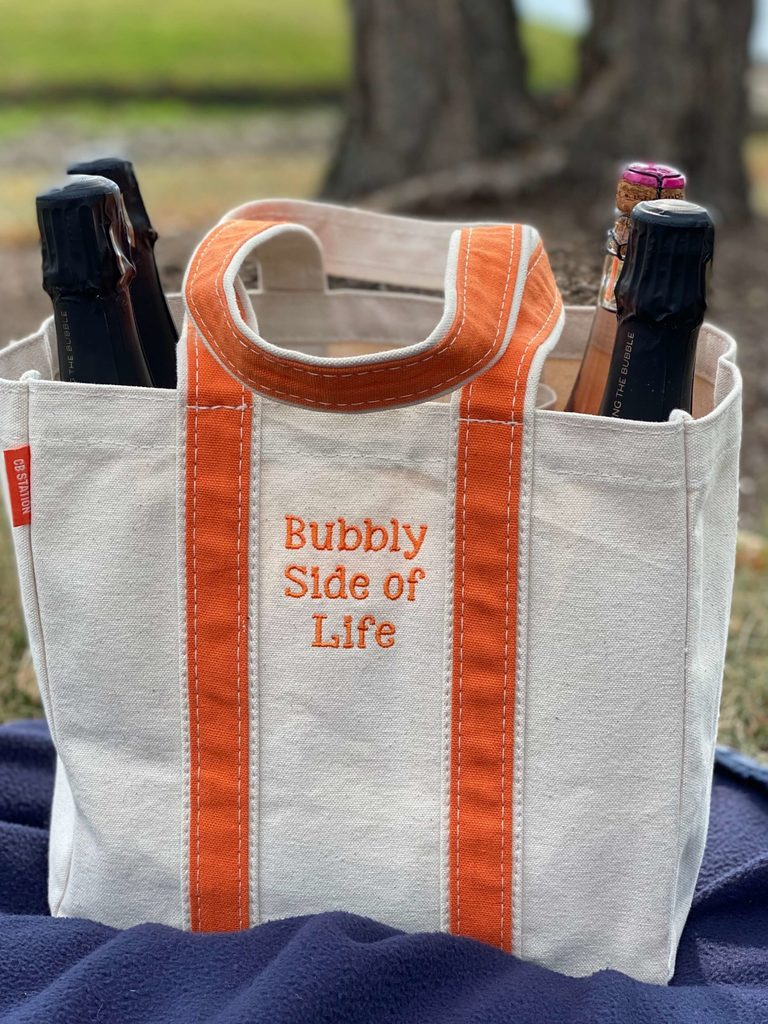 Bubbly wine tote bought from Etsy