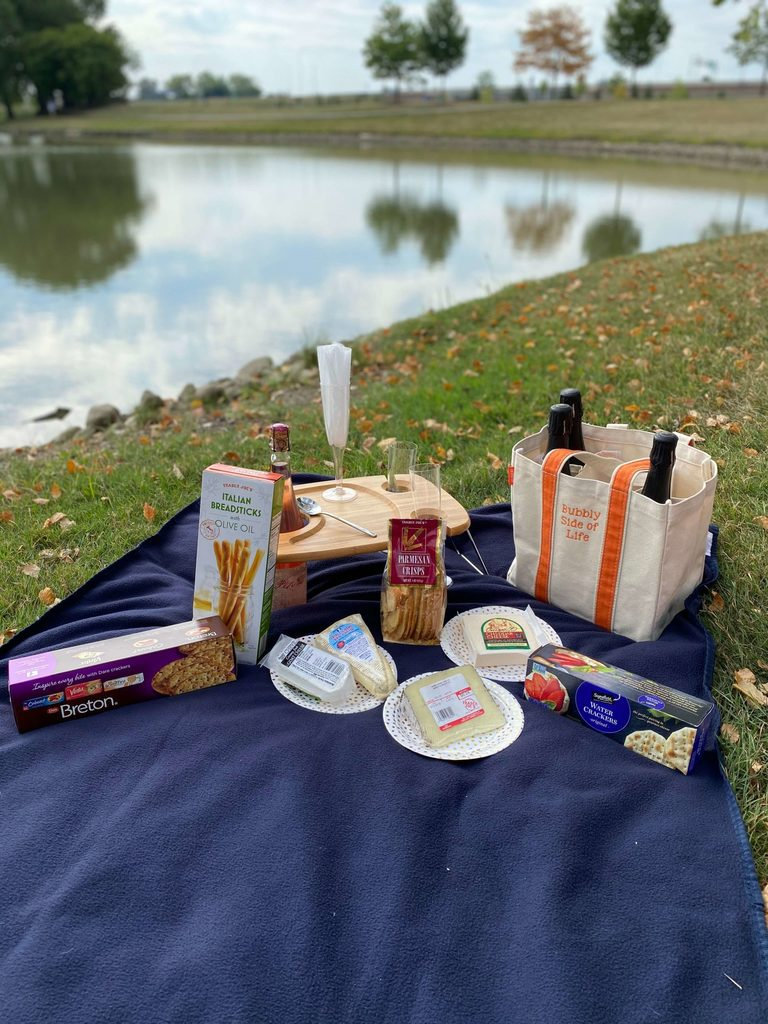 Bubbly Picnic Cheese and Crackers