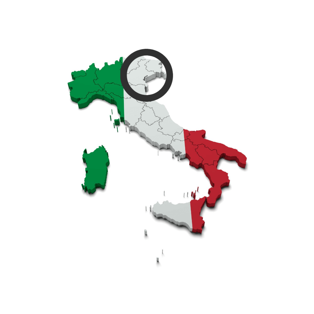 The regions in Italy where  Prosecco DOC is made.