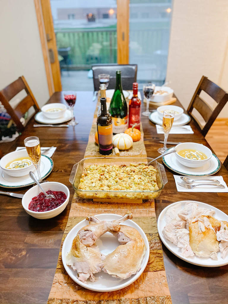 Thanksgiving menu, bubbly style of course