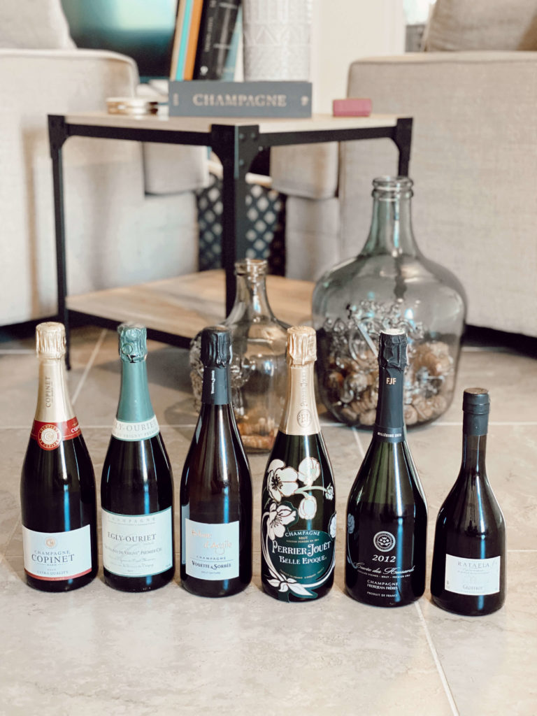 Champagne, the most common bubbly wine.