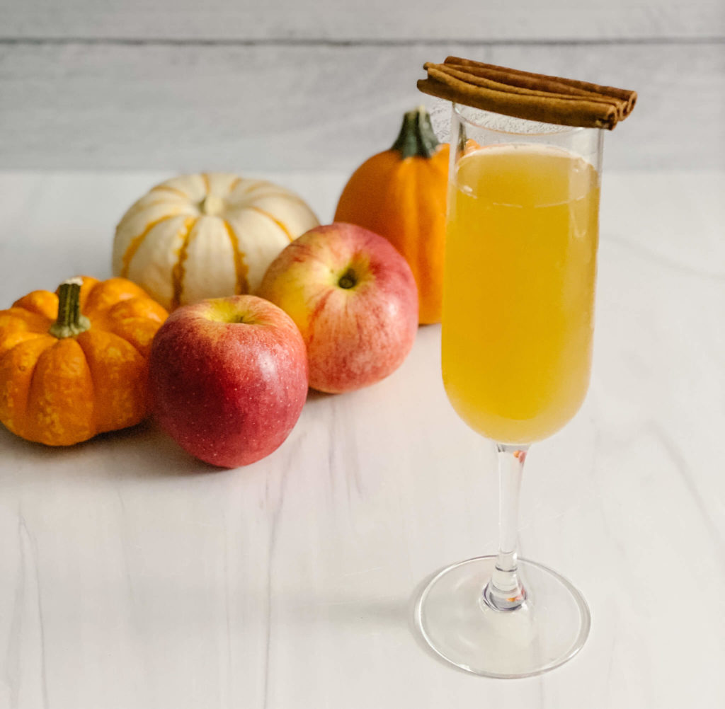 Apple Cider mimosas pair well with bubbly French toast casserole.