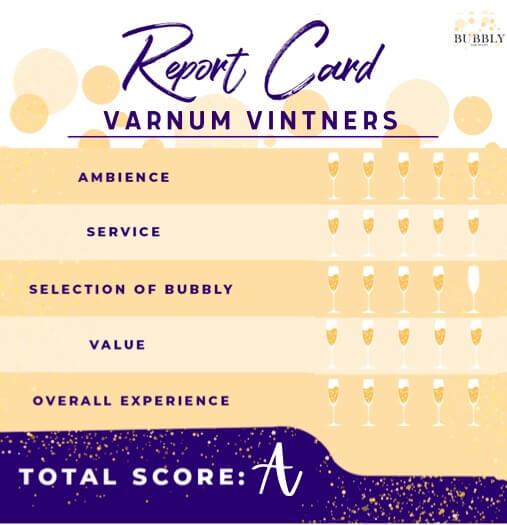 Varnum Vintners Report card from Bubbly Side of Life