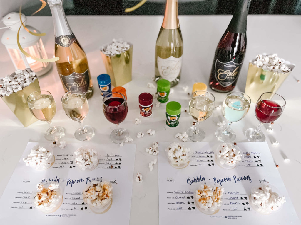 Bubbly pairing mats with popcorn.