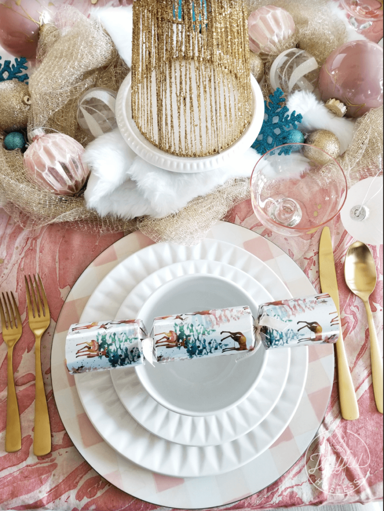 Pretty in Rosé place setting to match the Christmas table decor.