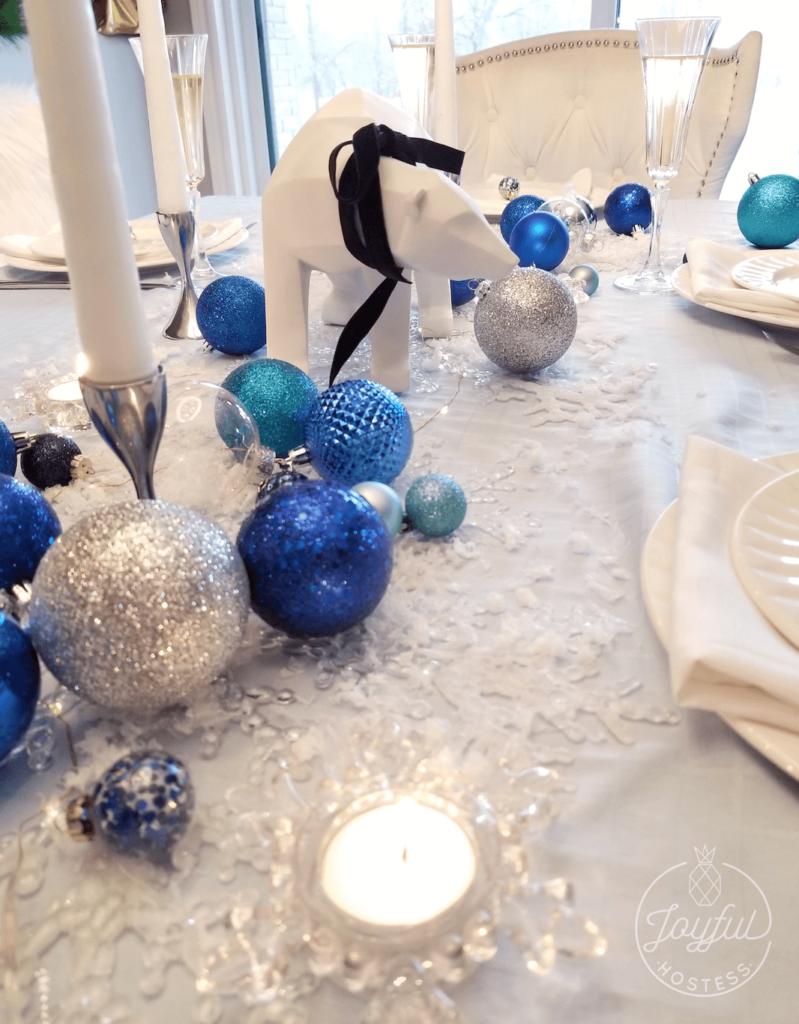Christmas table ideas, Ice Blue and bubbly!