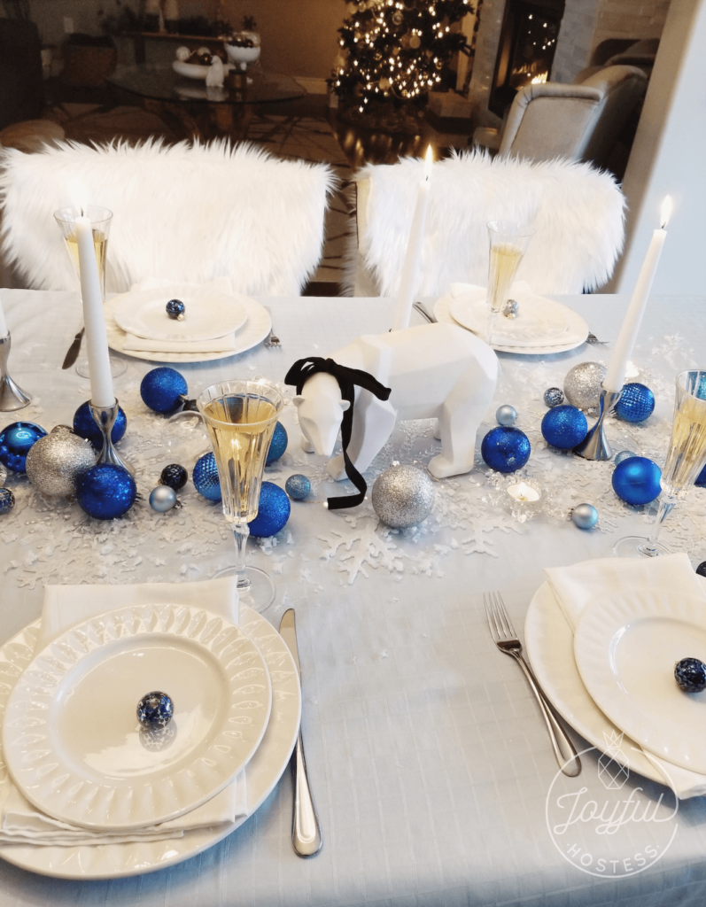 Christmas table place settings to match Ice blue and bubbly.