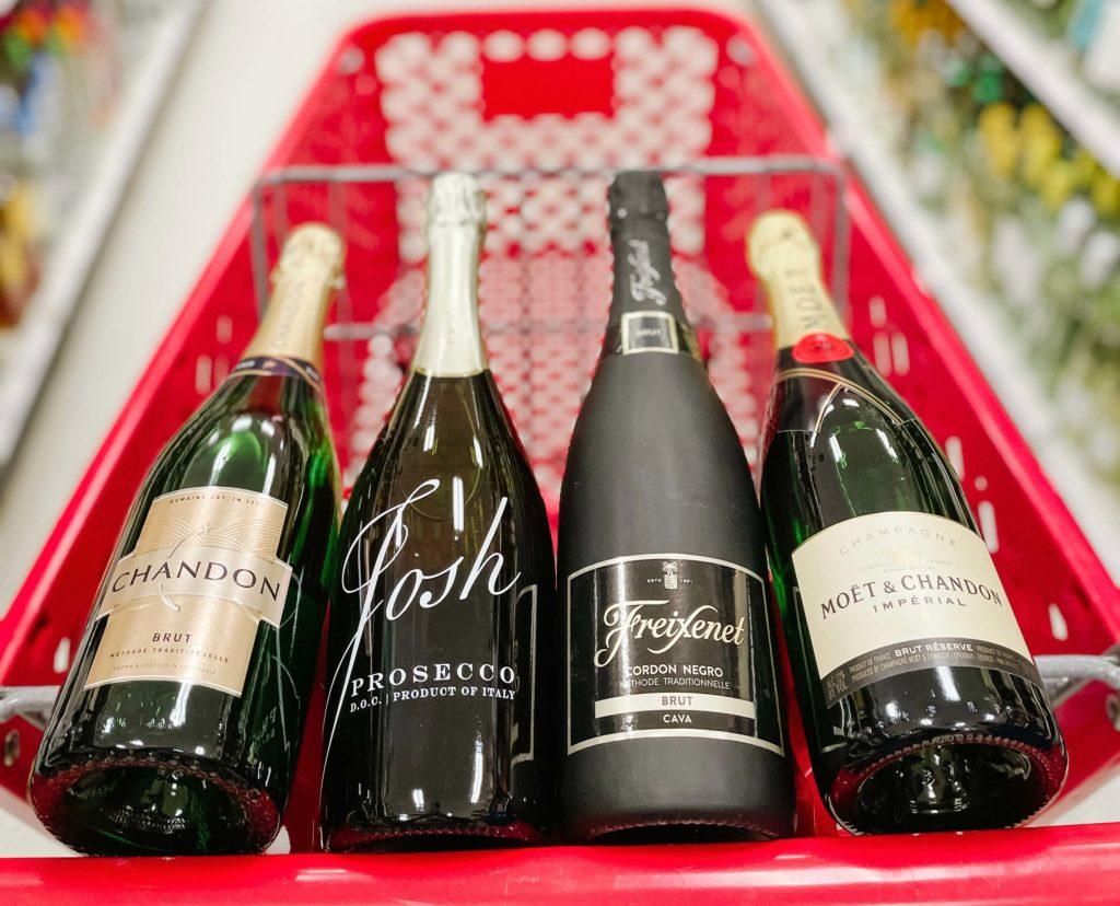 Sparkling wine types:  champagne, prosecco, sparkling wine, cava