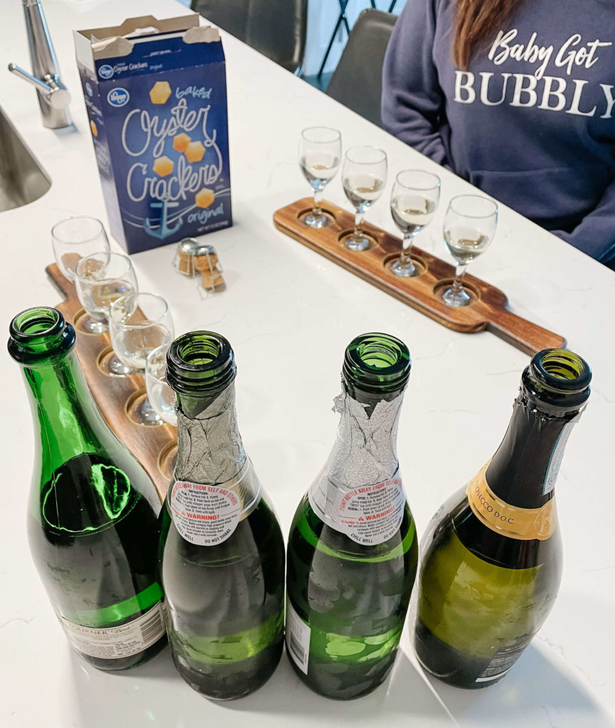 Sparkling wine tasting with oyster crackers.