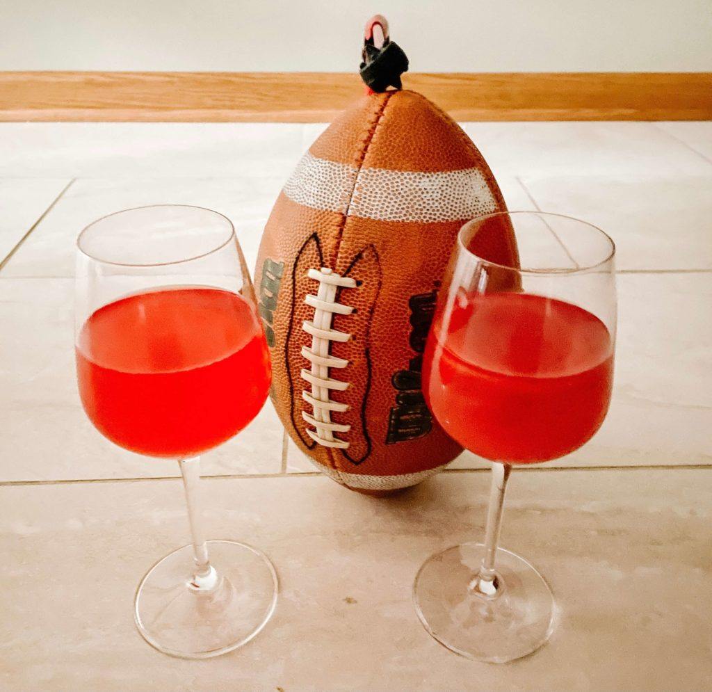 Football game snacks are complete with mocktails and cocktails for each team!