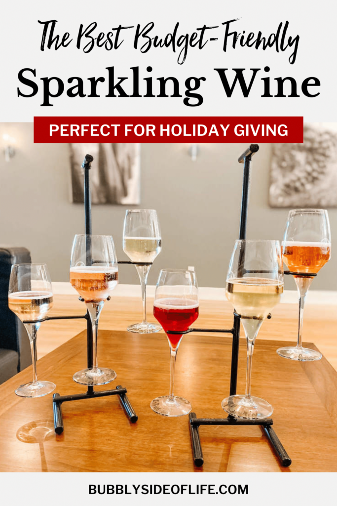 The BEST sparkling wine that is budget friendly and perfect for holiday gift giving! My favorites and most of what I stock up on is less than $25 a bottle. Learn more here! #sparklingwine #giftideas