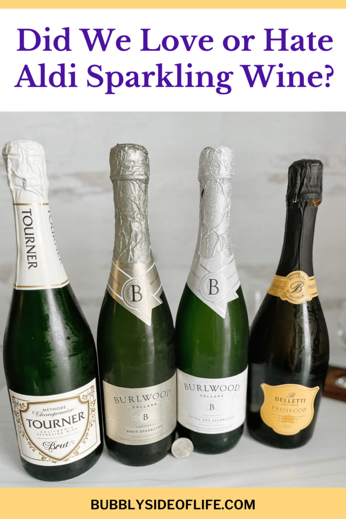 Aldi sparkling wine, you asked so we had to put it to the taste test! We tasted the Aldi sparkling wine in this order from dry to sweet. Read our full review of each sparkling wine from Aldi on our blog post! We treid Tourner Brut Sparkling, Burlwood Cellars Brut Sparkling, Burlwood Cellars Extra-Dry Sparkling, and Beletti Prosecco. Check out our full Aldi Wine reviews here!