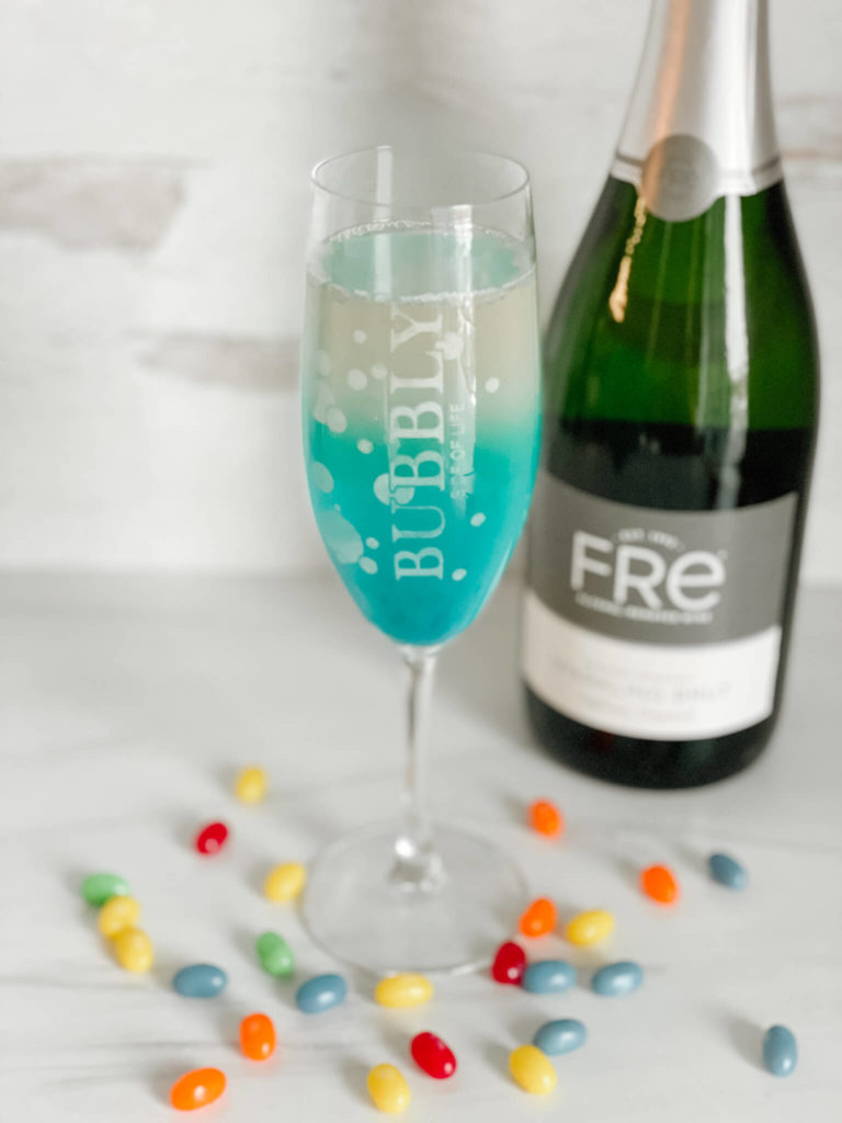 Easter ideas for the perfect Celebration including this BlueBubbly mocktail easily turned into a cocktail.