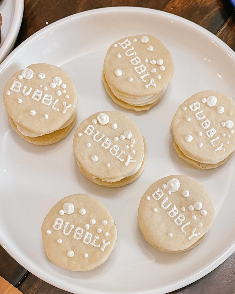 One of our favorites:  bubbly sugar cookies the perfect custom addition to the dessert charcuterie board.