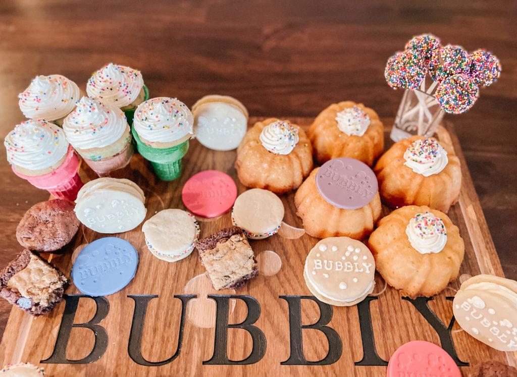 Bubbly birthday desserts for the custom dessert charcuterie board.
