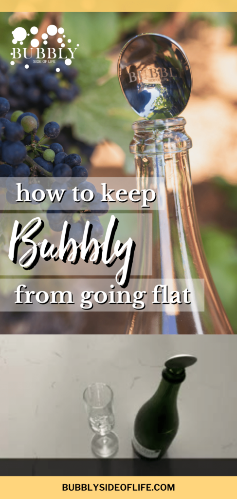 "Learn how to keep champagne from going flat with the bubbly spoon! This champagne spoon ""trick"" is so easy and will work on your open bottle of bubbly for up to 3 days. So once you open your bottle and pour your first glass, take the spoon, put the handle into the bottle and place your bottle in the refrigerator. Learn more here! #champagne #sparklingwine #tips"
