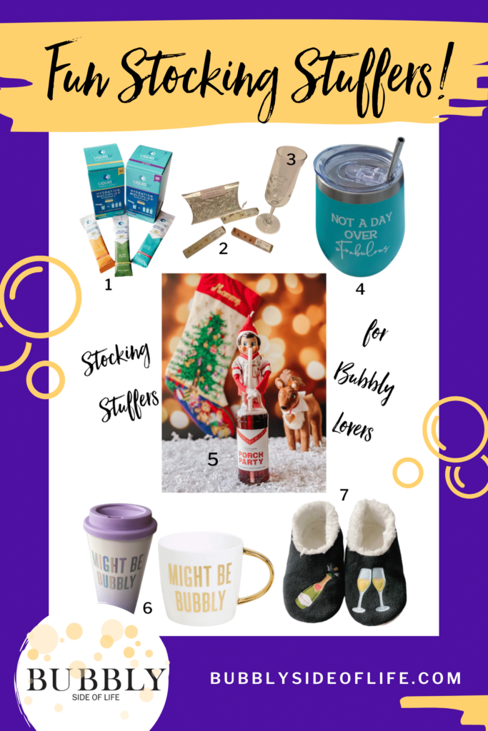 Easy champagne themed stocking stuffer ideas for women who love Bubbly. Does someone in your life love champagne? These champagne themed gifts are the perfect Christmas present! Read more about my champagne gift ideas here! #stockingstuffers #holidayshopping #giftideas