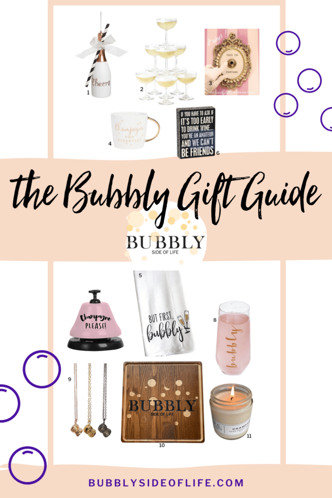 Shopping for the perfect gifts for champagne lovers in your life is so easy with this gift guide. Does someone in your life love champagne? These champagne themed gift ideas will help you buy the perfect Christmas present! Read more about my champagne gift ideas here! #giftguide #holidayshopping #giftideas