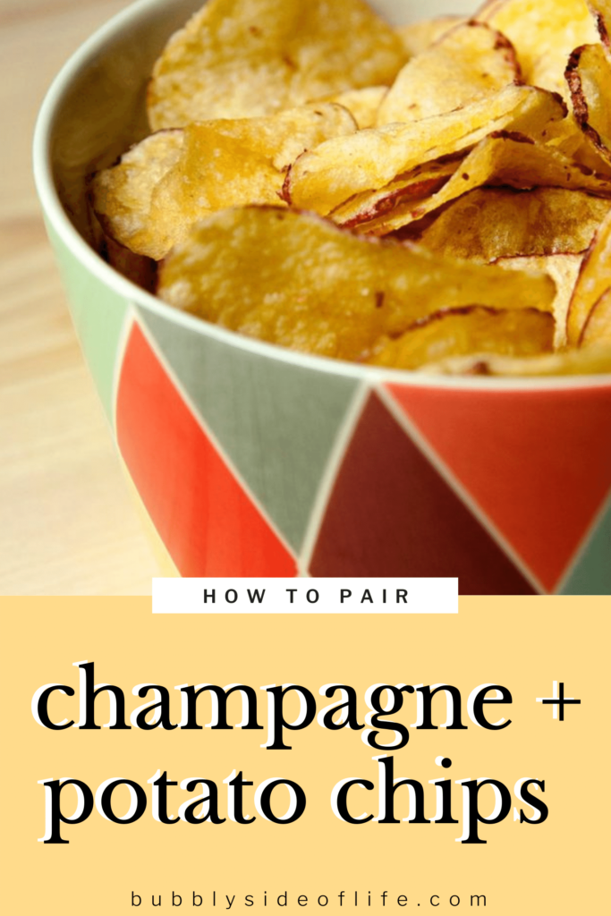Find out how to create the perfect pairing of bubbly sparkling wine with potato chips. The best snacks while drinking bubbly sparkling wine or champagne. Salty, crunchy, and the perfect pair. | Wine Pairing Party | Wine Pairing with Food | Wine Pairing | Snack Bar Ideas