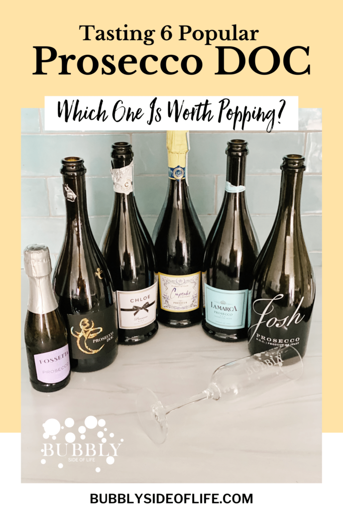 Looking for the best Prosecco? I tasted 6 popular Prosecco DOC you can find at the grocery store. Ranked from what we think is the best Prosecco to the ones we will not be buying again. Click to learn all about Prosecco DOC and read each review. #prosecco #proseccodoc #winetasting #winereview