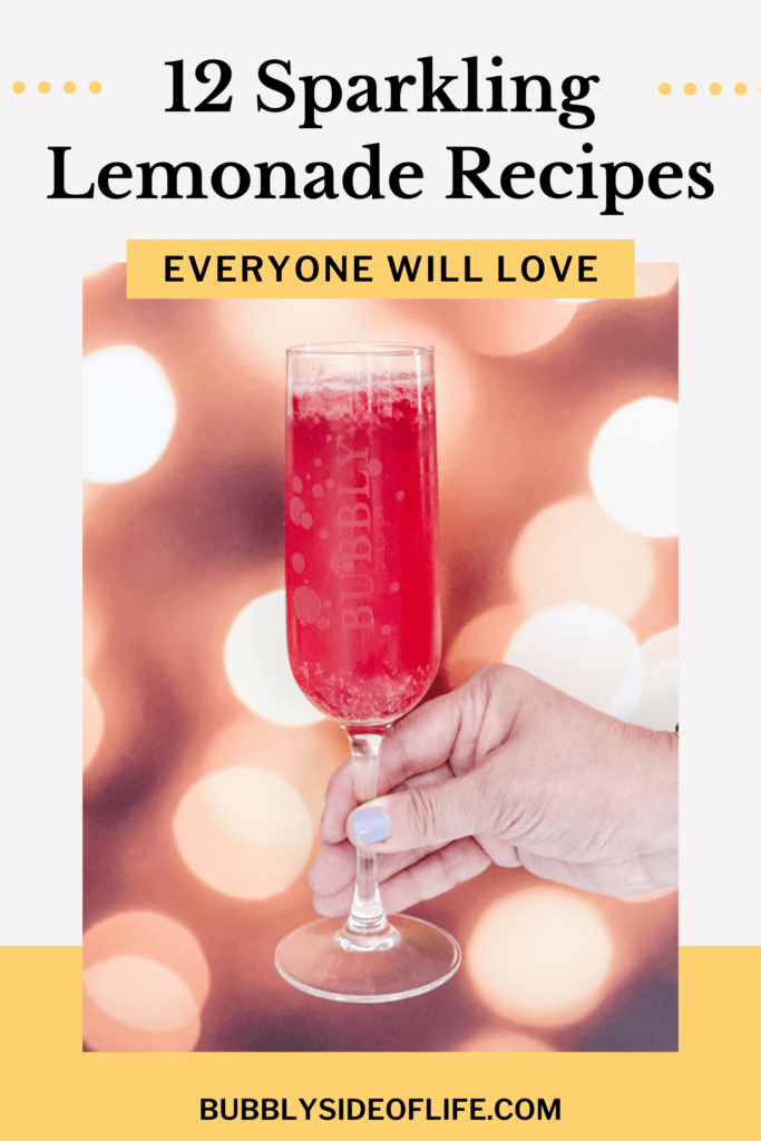 Looking for a delicious sparkling lemonade recipe? Here are 12 easy recipes! Make it boozy or non-alcoholic, small or large batch punch. Find the full cocktail and mocktail sparkling lemonade recipes here.