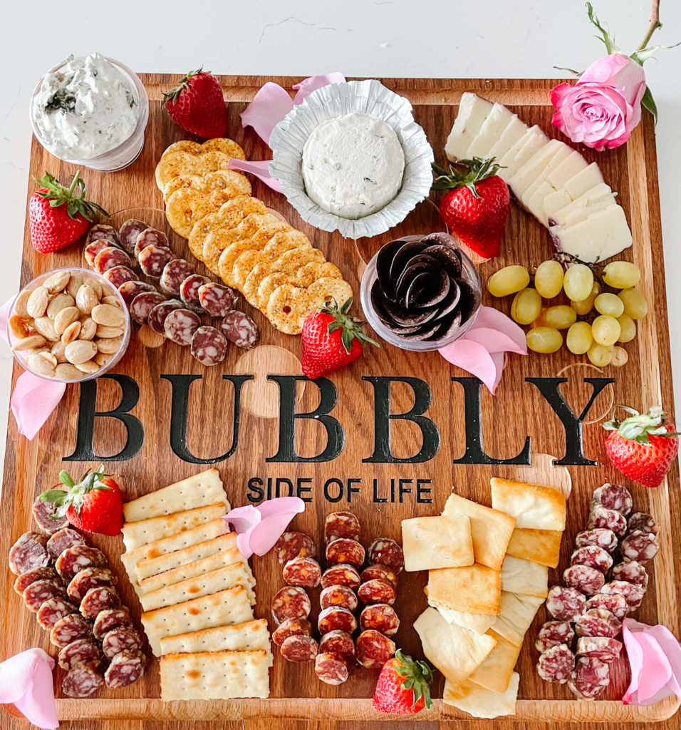 Super simple charcuterie board to accompany your sparkling rosé tasting.