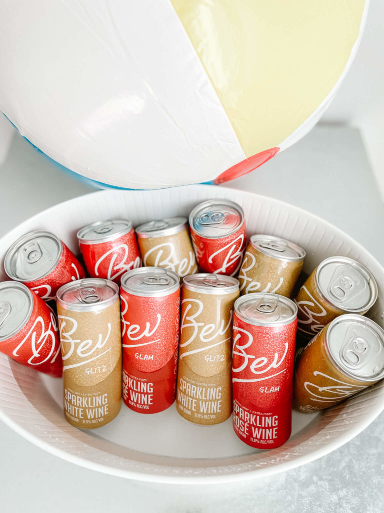 Bev sparkling wine cans perfect to accompany any fruit charcuterie board.