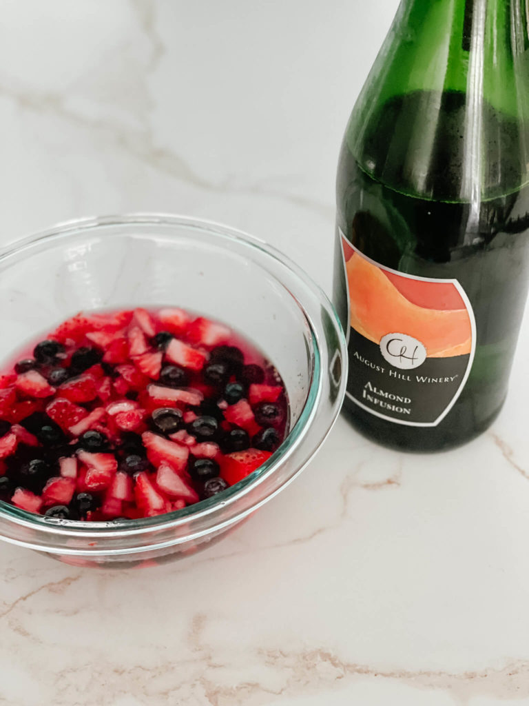 To make the perfect Bubbly fruit pizza, just marinate your fruit in your favorite bubbly for the perfect treat!