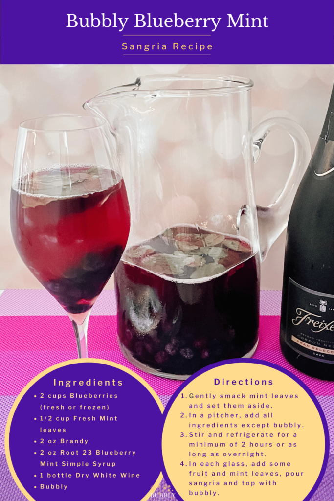 Bubbly Blueberry Mint sangria recipe using Root 23 Simple Syrup.