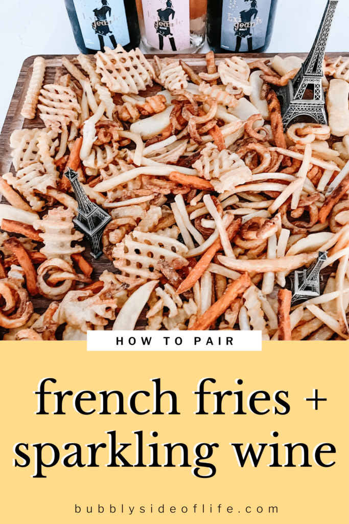 Find out how to create the perfect pairing of Exigeante Sparkling Wine with a variety of french fries. A great snack to eat while drinking bubbly sparkling wine during any occasion. Salty, bubbly, the perfect pair. | Wine Pairing Party | Wine Pairing with Food | Wine Pairing | Snack Bar Ideas
