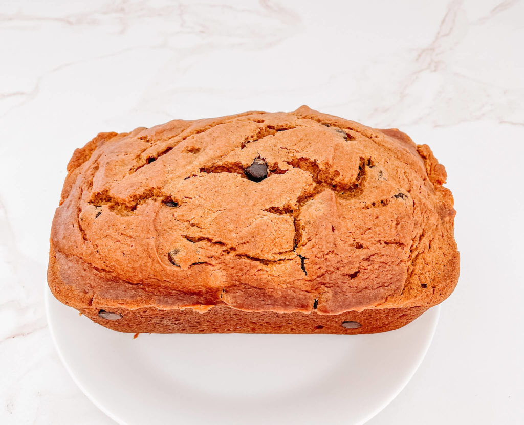 When you're making the bubbly pumpkin coffee cake muffins, take that batter and create 2 pumpkin recipes from it.  The perfect Bubbly Chocolate Chip Loaf.
