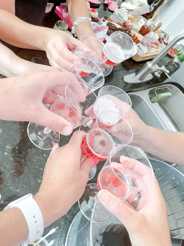 The key to a sparkling wine tasting at home?  CHEERS and have fun!